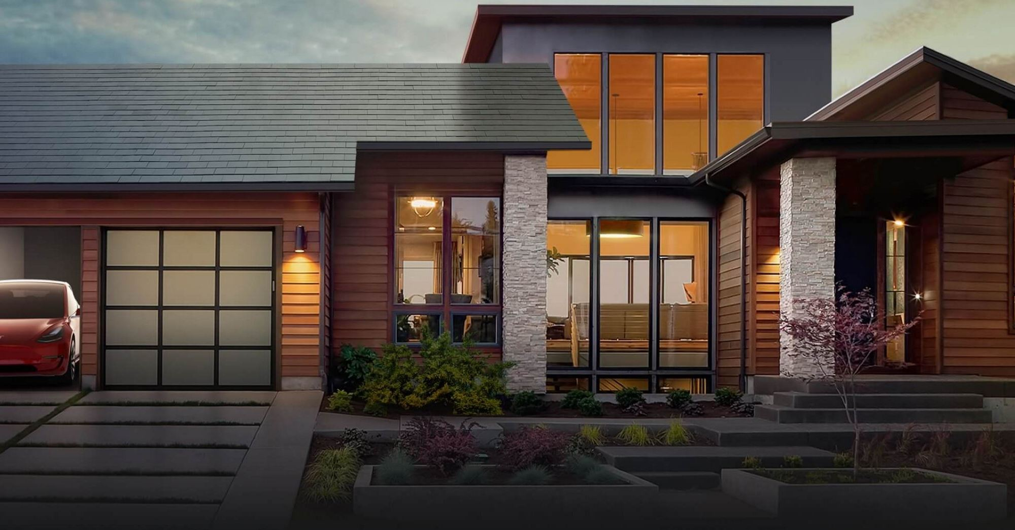 Tesla solar roof, Powerwall battery, and Tesla car mockup