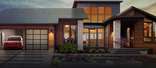 Tesla solar roof, Powerwall battery, and Tesla car mockup